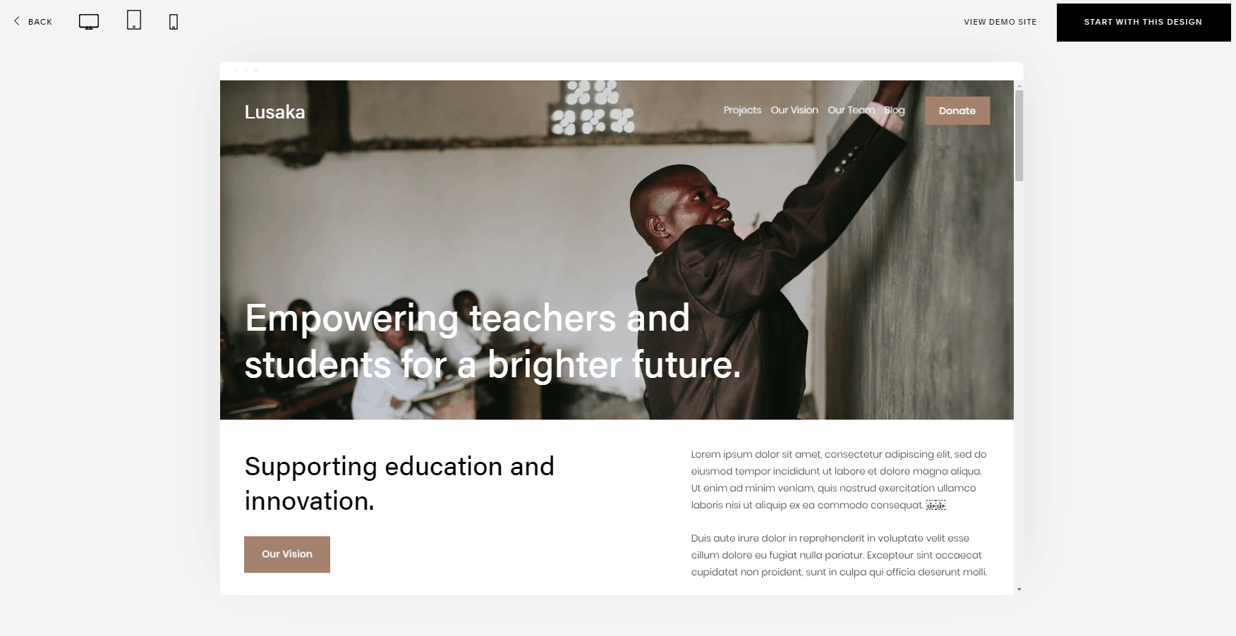 Squarespace Lusaka template for education nonprofits