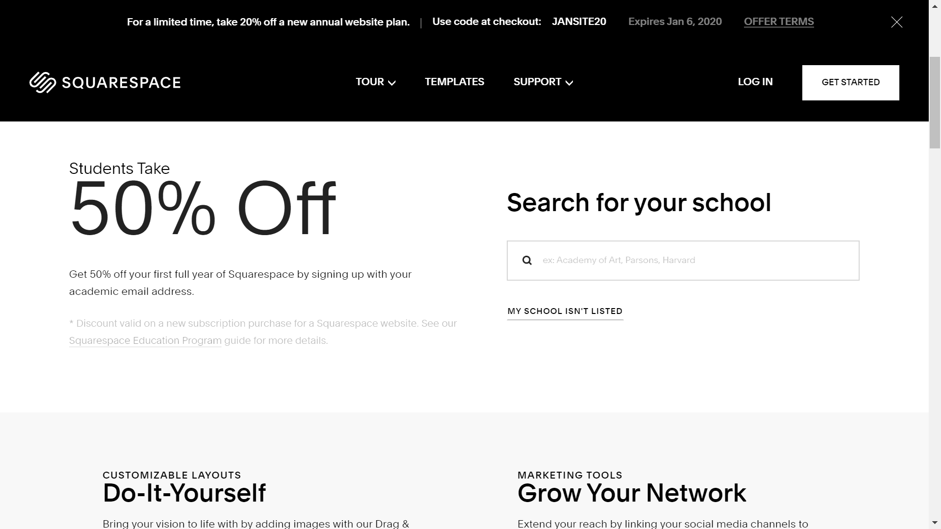 Squarespace discount for students and teachers