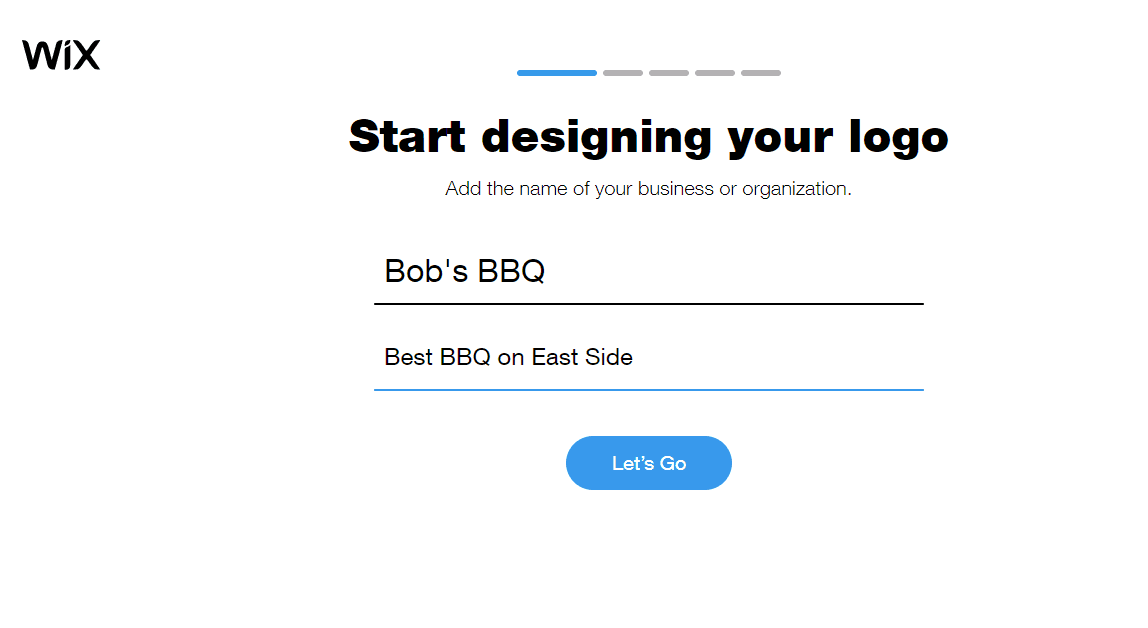 Wix screenshot - Start designing your logo