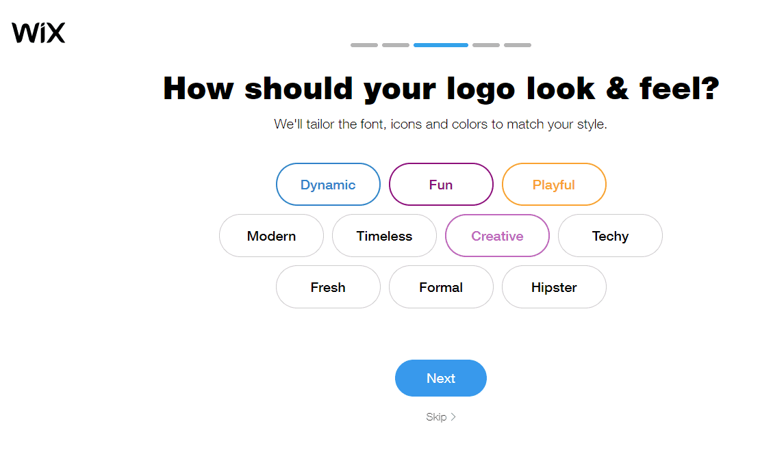 Wix screenshot - Logo look & feel