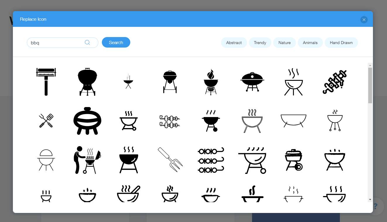 Wix screenshot - BBQ icons