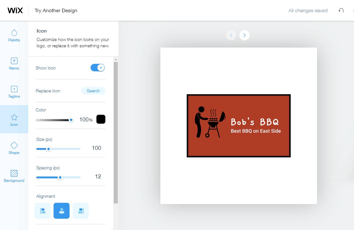 Wix screenshot - Logo editor