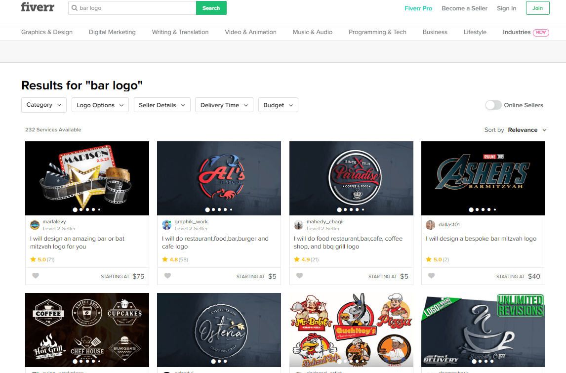 Fiverr screenshot - Bar logo designers