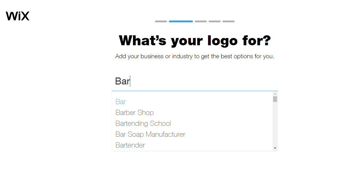 Wix Logo Maker screenshot - What's your logo for