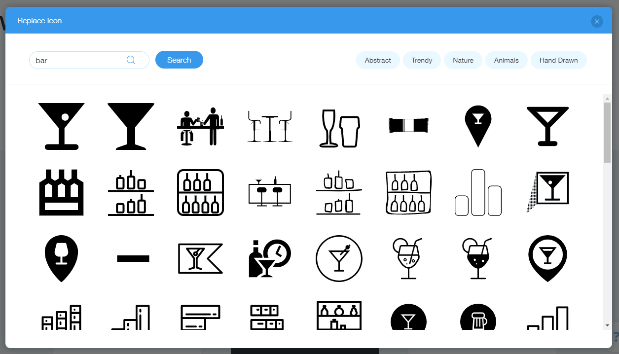 Wix Logo Maker screenshot - Bar icons