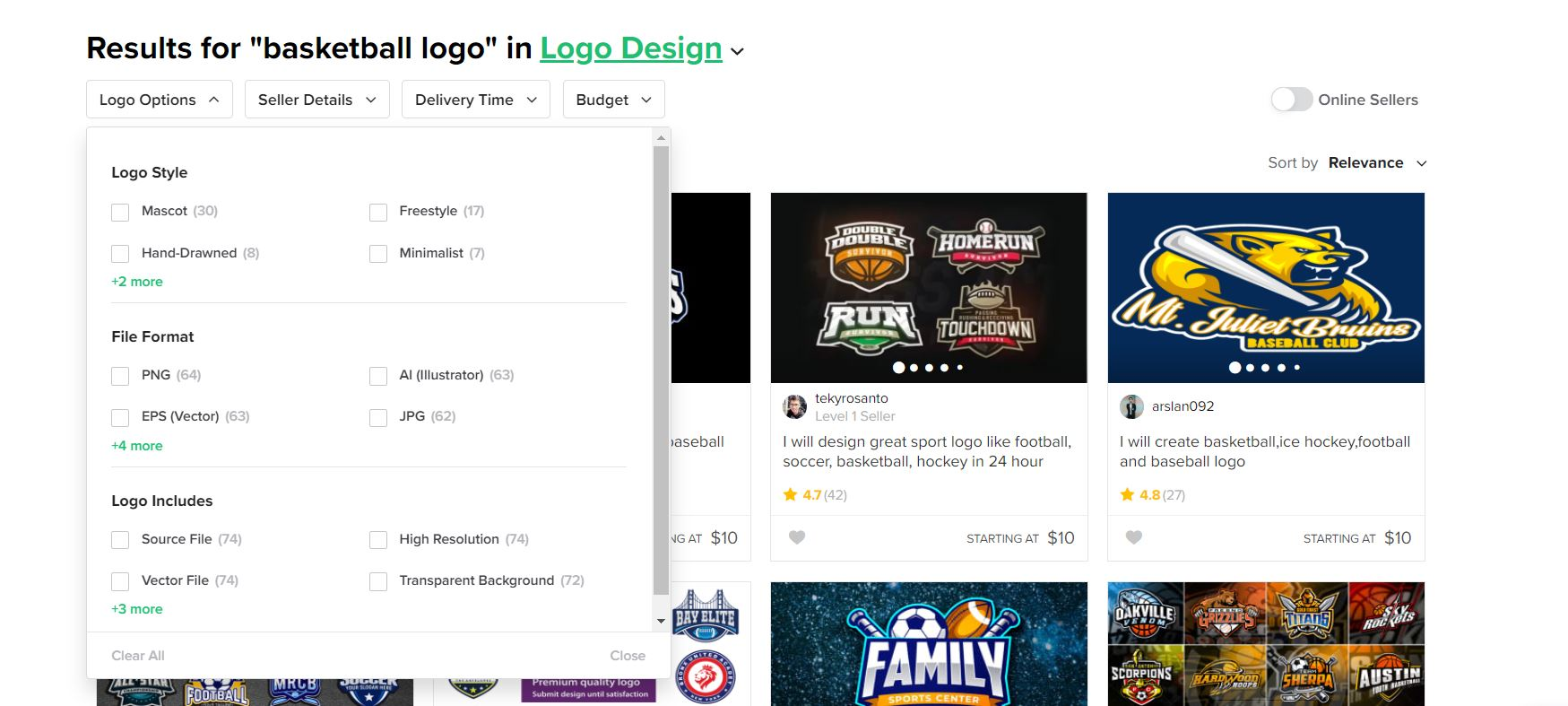 Fiverr screenshot - Basketball logo designers