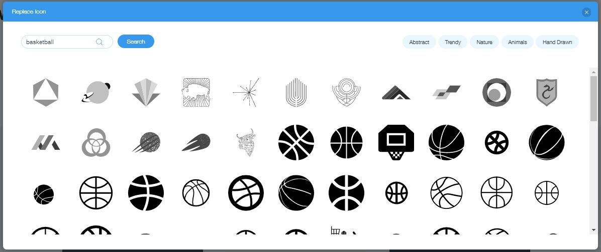 Wix Logo Maker screenshot - Basketball icons