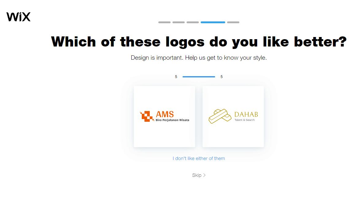 Wix Logo Maker screenshot - Pick between logo pairs