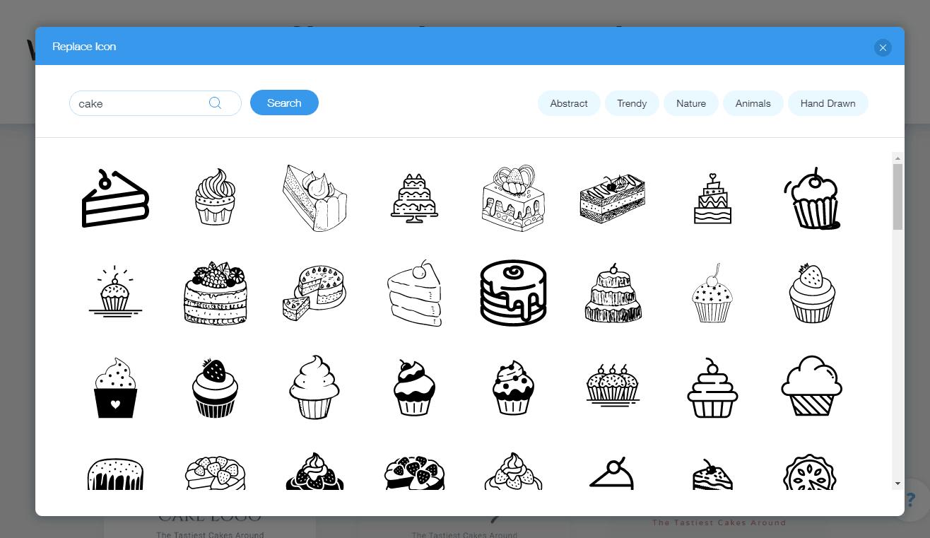 Wix Logo Maker screenshot - Cake icons