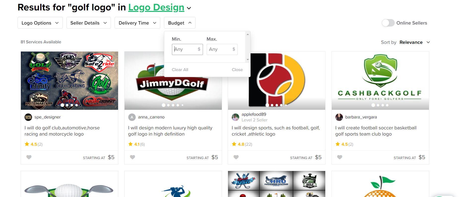 Fiverr screenshot - Golf logo designers