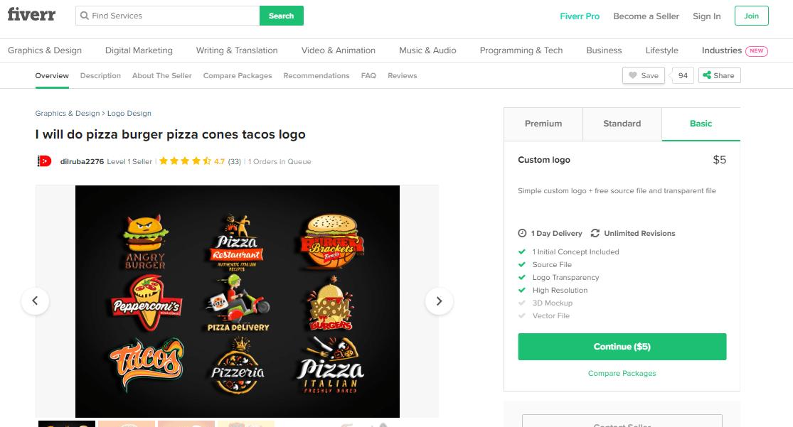 Fiverr screenshot - Pizza logo designer