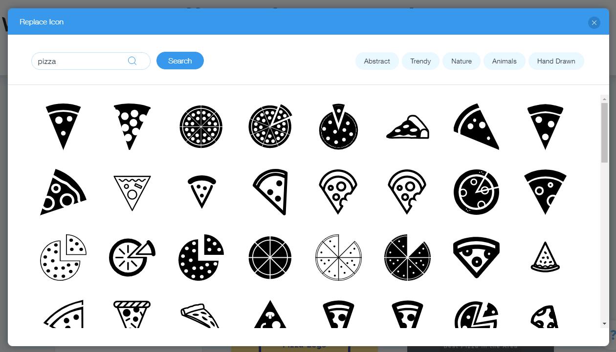 Wix Logo Maker screenshot - Pizza icons