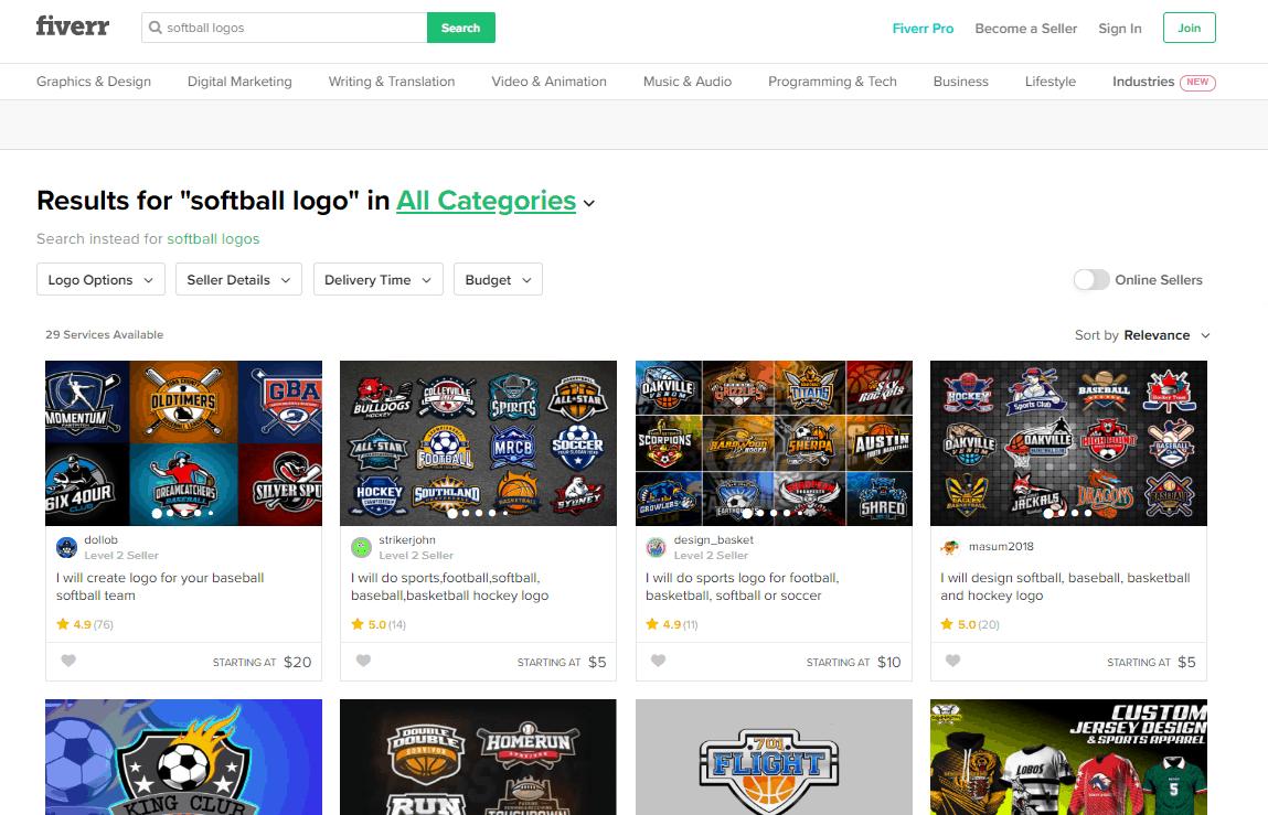 Fiverr screenshot - Softball logo designers