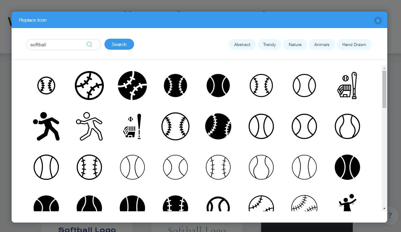 Wix Logo Maker screenshot - Softball icons