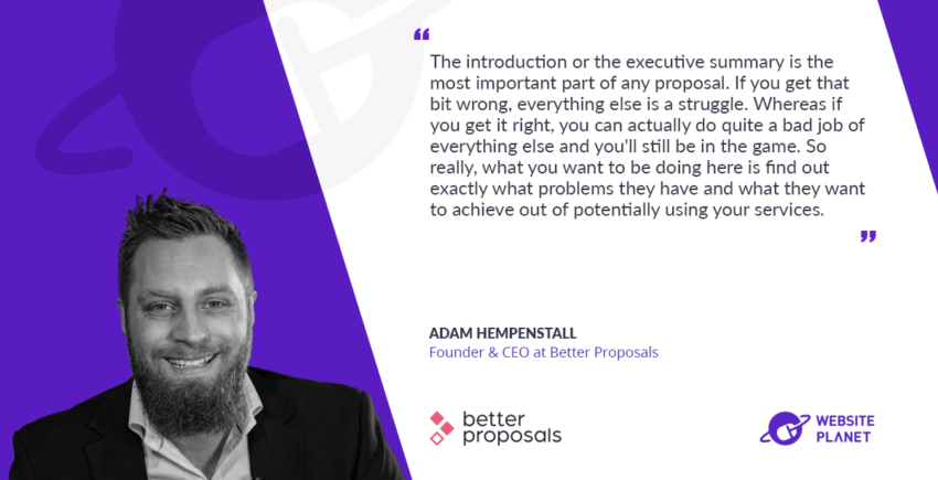 Adam Hempenstall, CEO at Better proposals