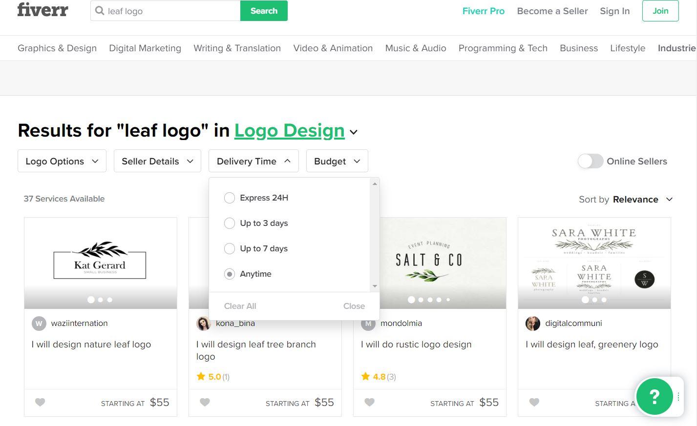 Fiverr screenshot - Leaf logo designers