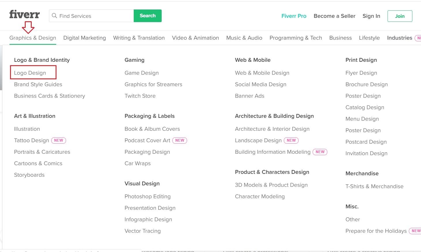 Fiverr screenshot: Graphics & Design menu