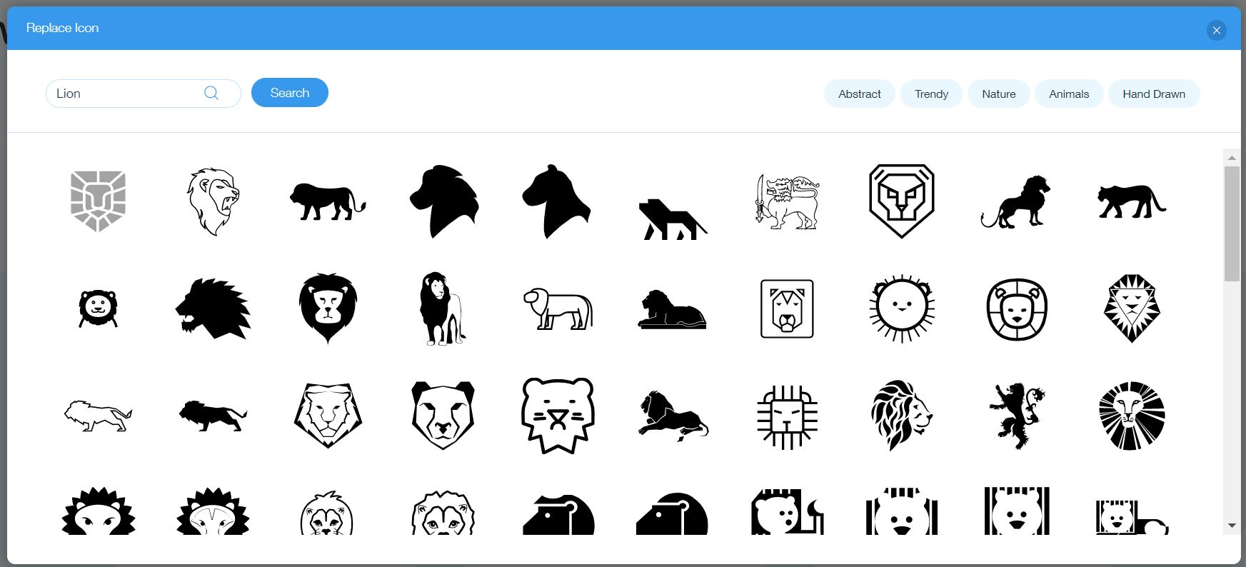 Wix Logo Maker screenshot: Lion icons