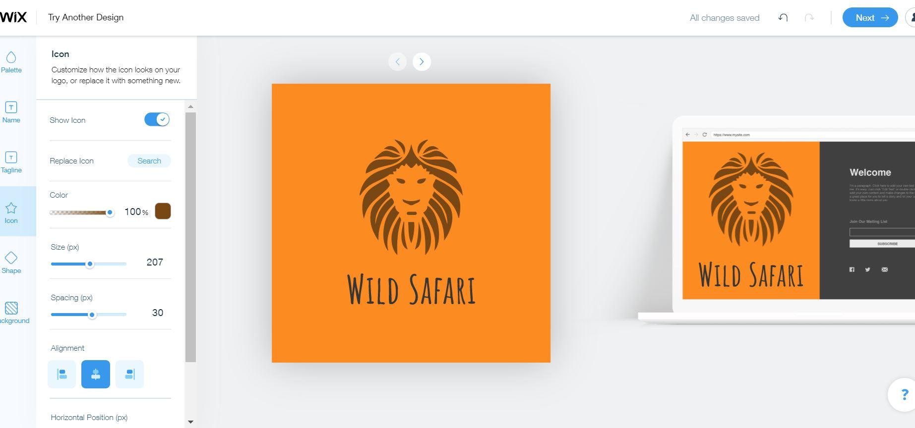 Wix Logo Maker screenshot: logo editor