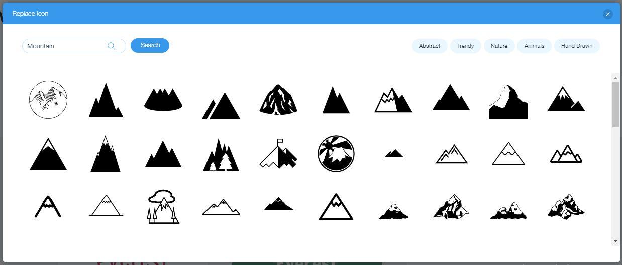 Wix Logo Maker screenshot - Mountain icons