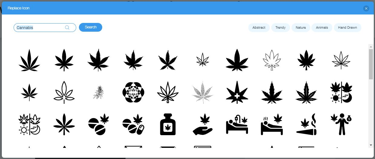 Wix Logo Maker screenshot - Cannabis icons