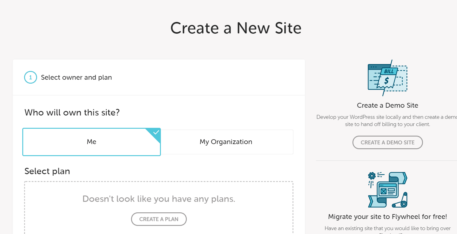 Flywheel Site Creation Screen