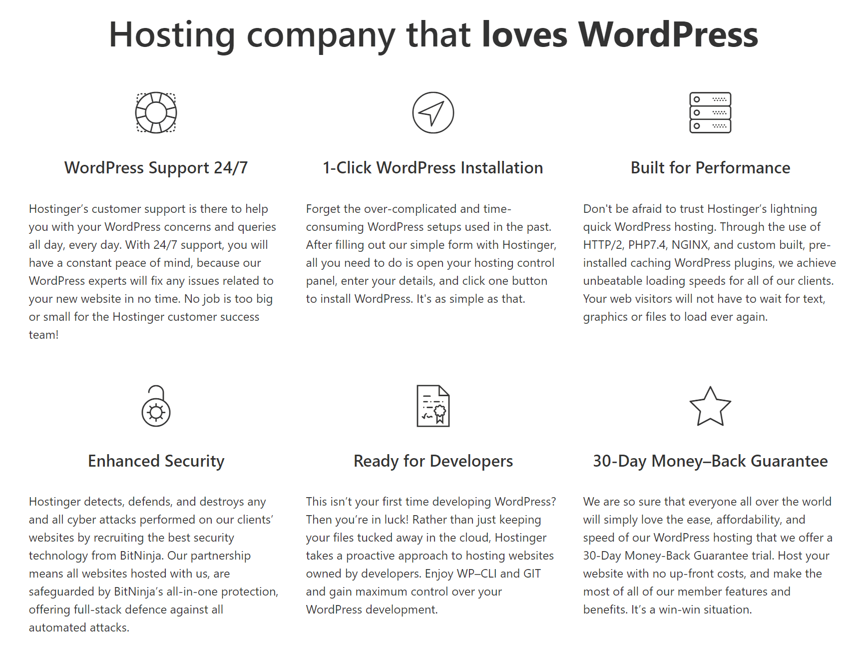 Hostinger's WordPress hosting features