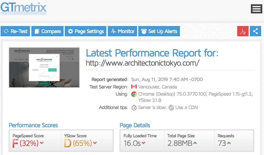 Bluehost's page loading speed results using GTmetrix's free tool