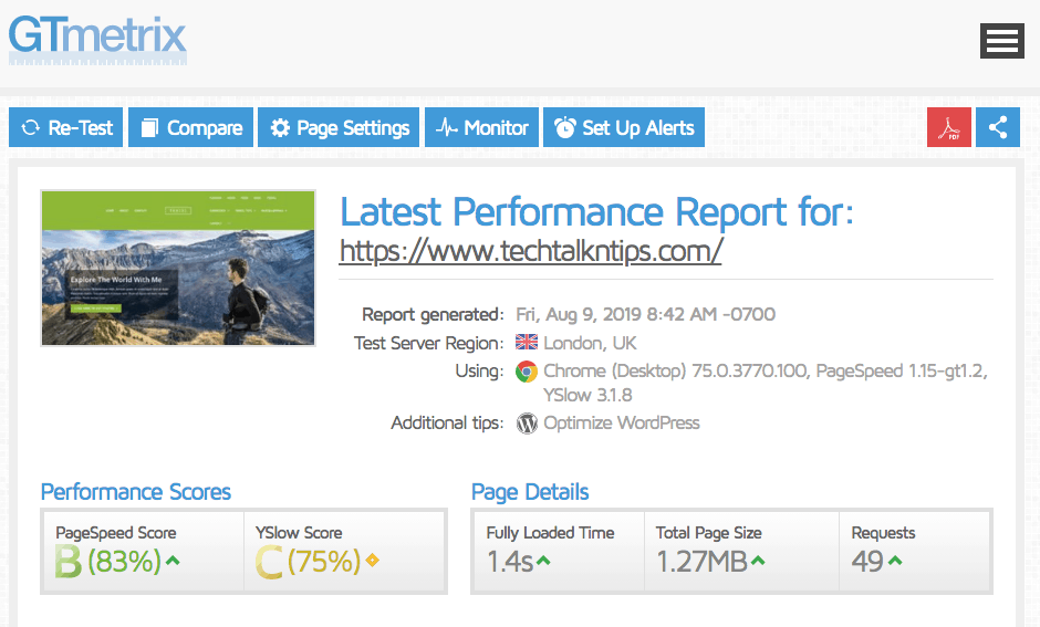 GTmetrix page loading performance report for SiteGround website hosting
