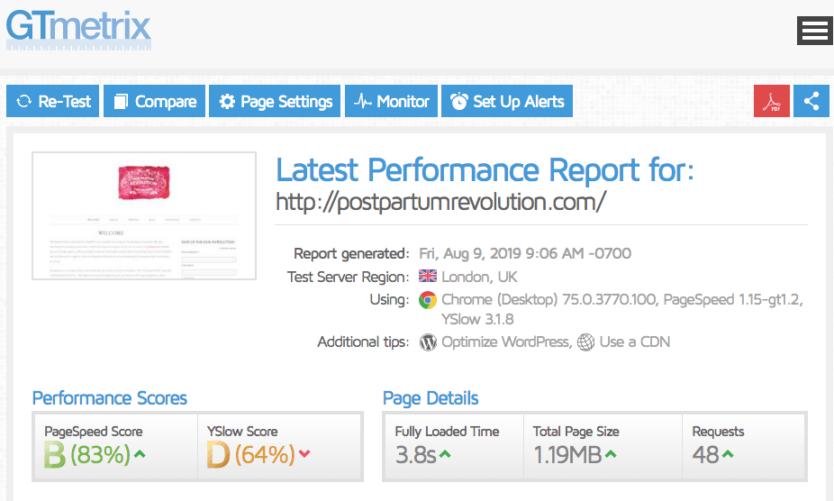 GTmetrix page loading performance report for DreamHost website hosting