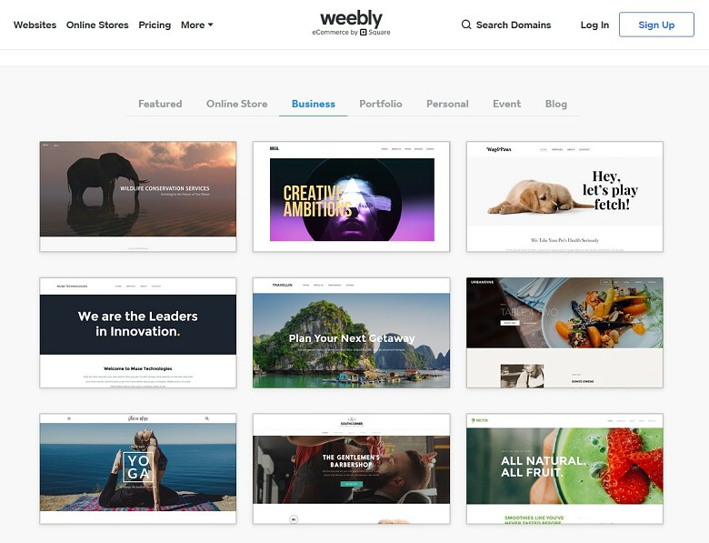Weebly template gallery