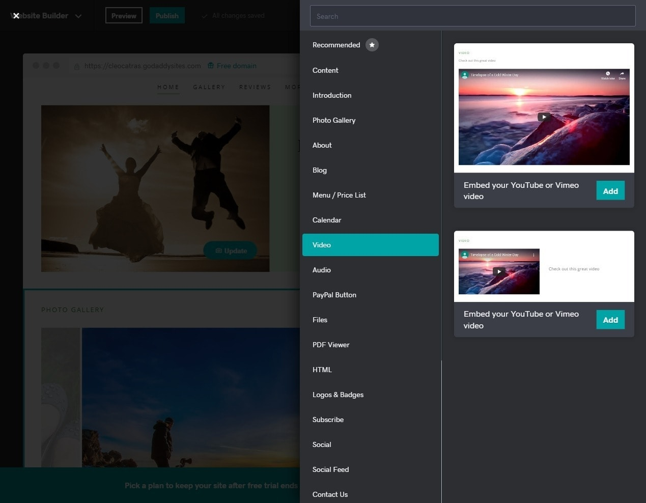 GoDaddy Website Builder element list