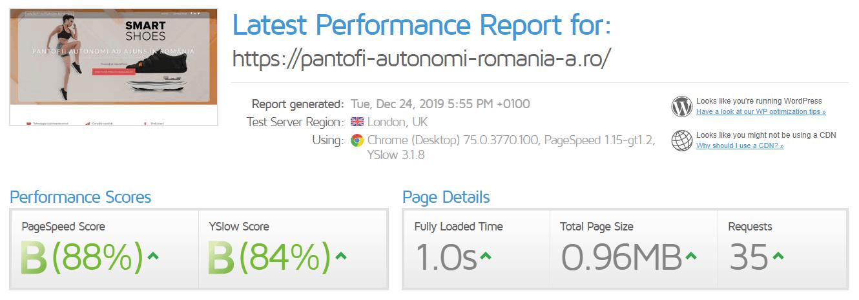 Performanță găzduire web Romarg