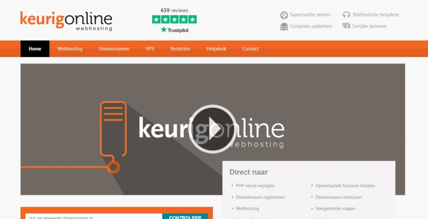KeurigOnline review webhosting vergelijken