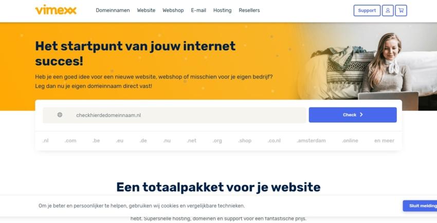 Vimexx main page