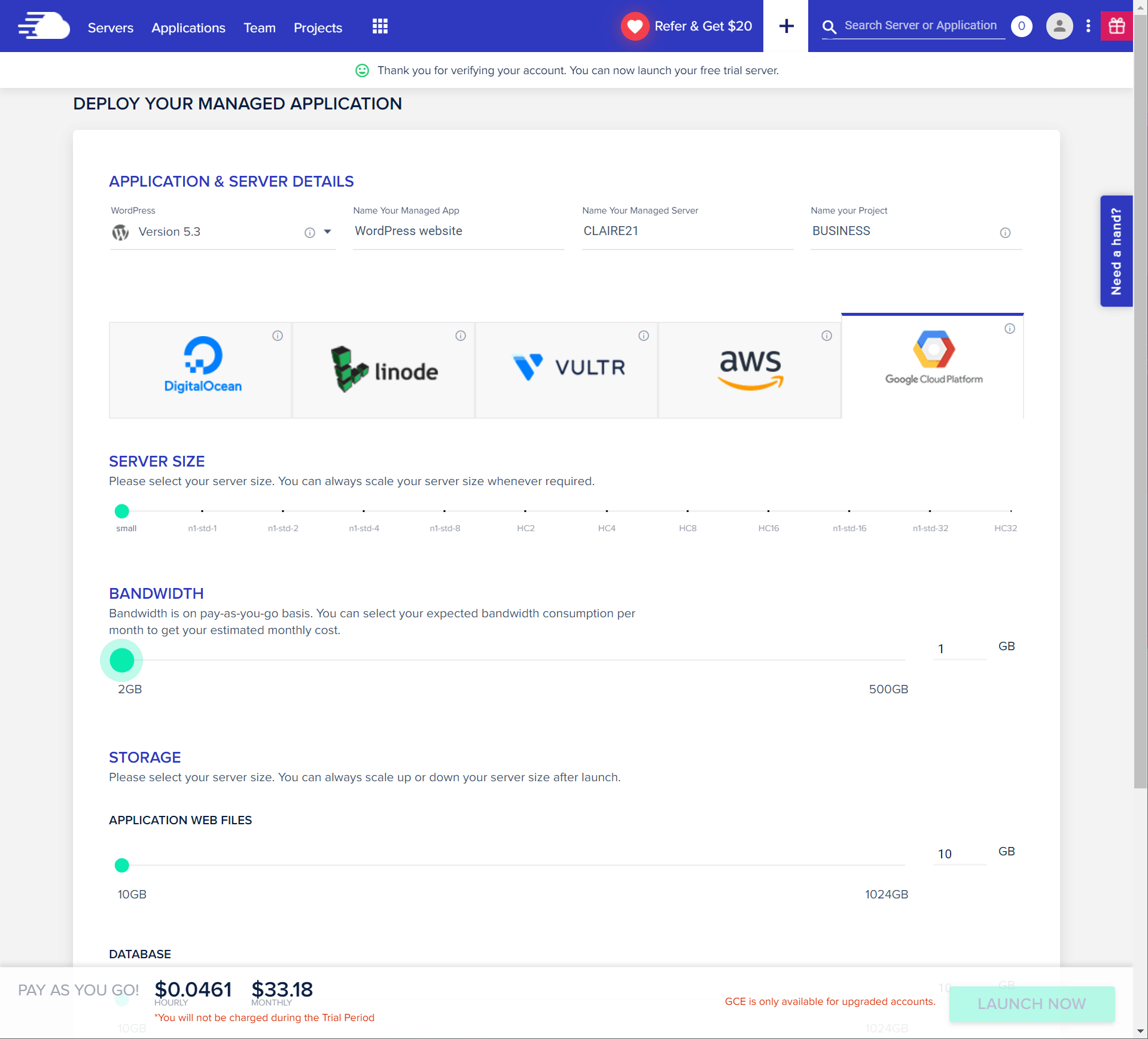 Cloudways dashboard