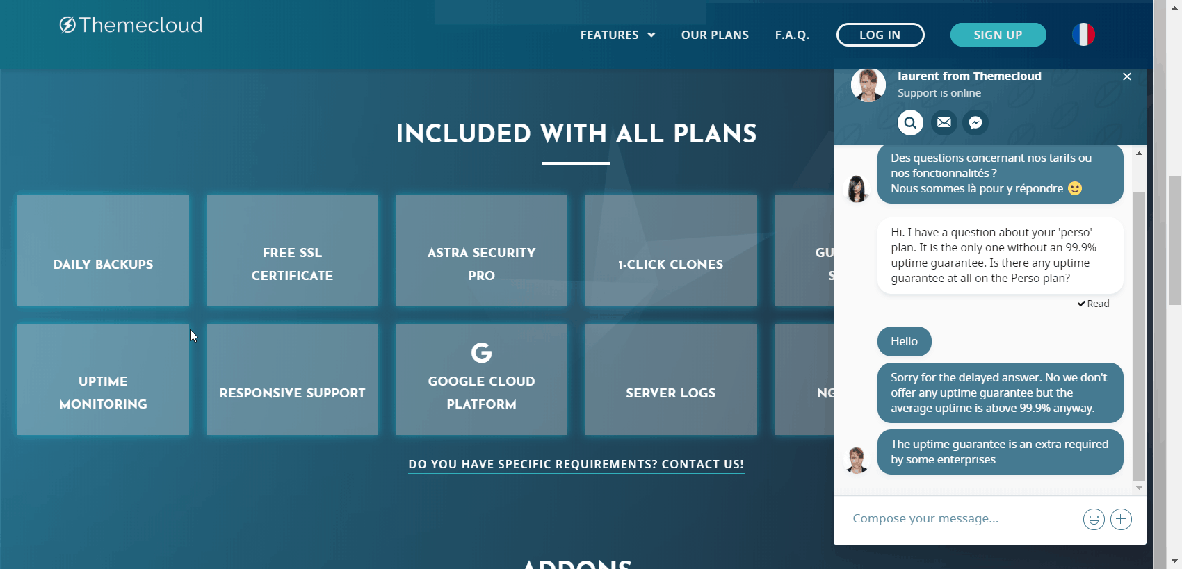 Themecloud.io support chat