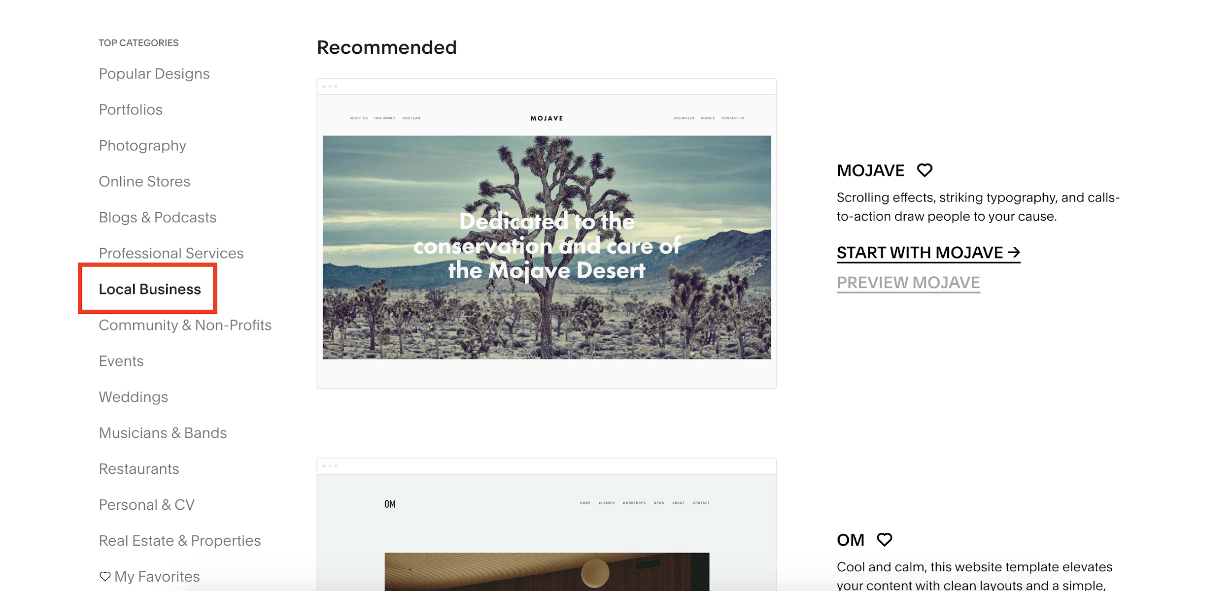 Squarespace Local Business templates