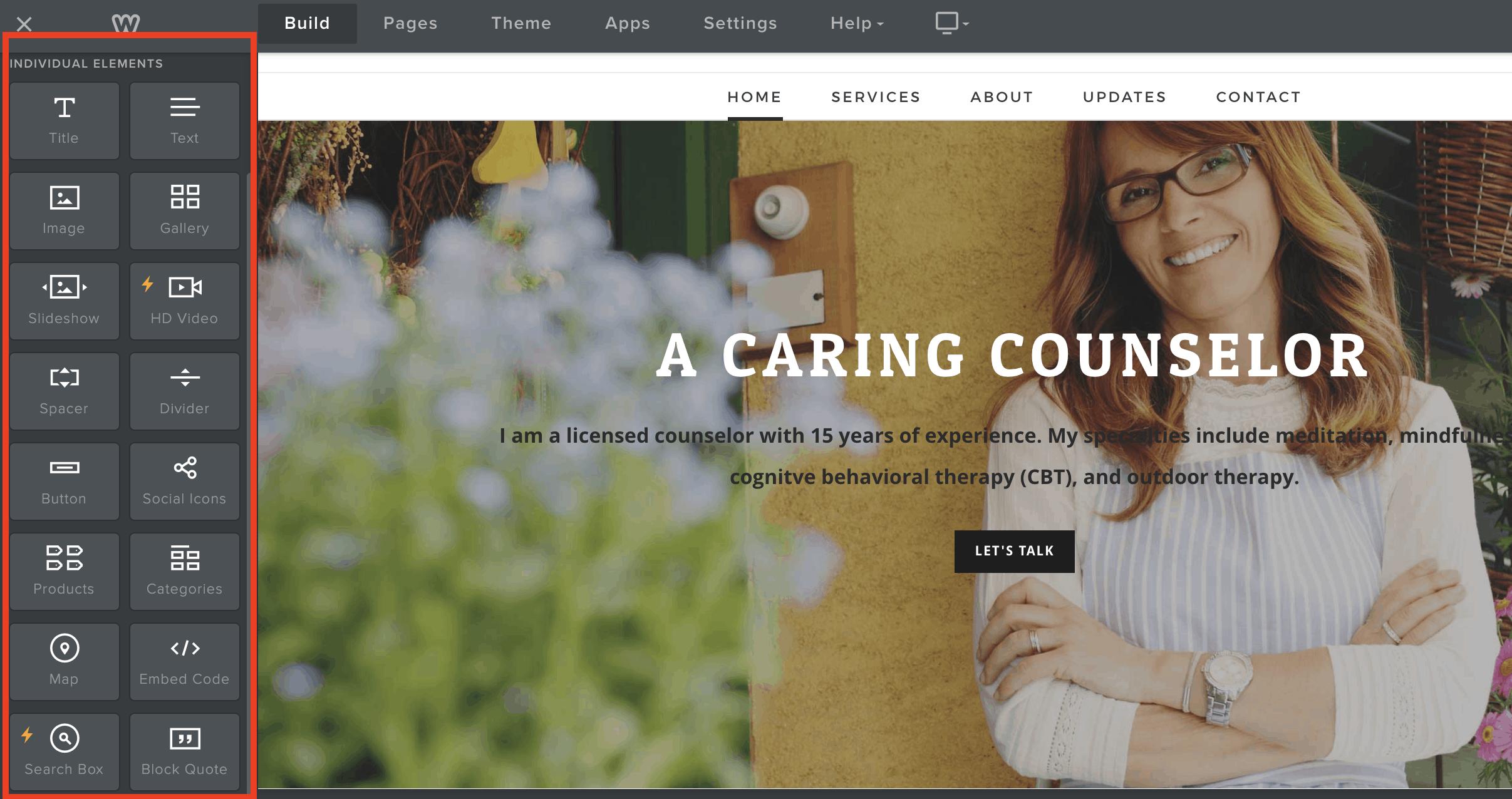 Weebly website editor