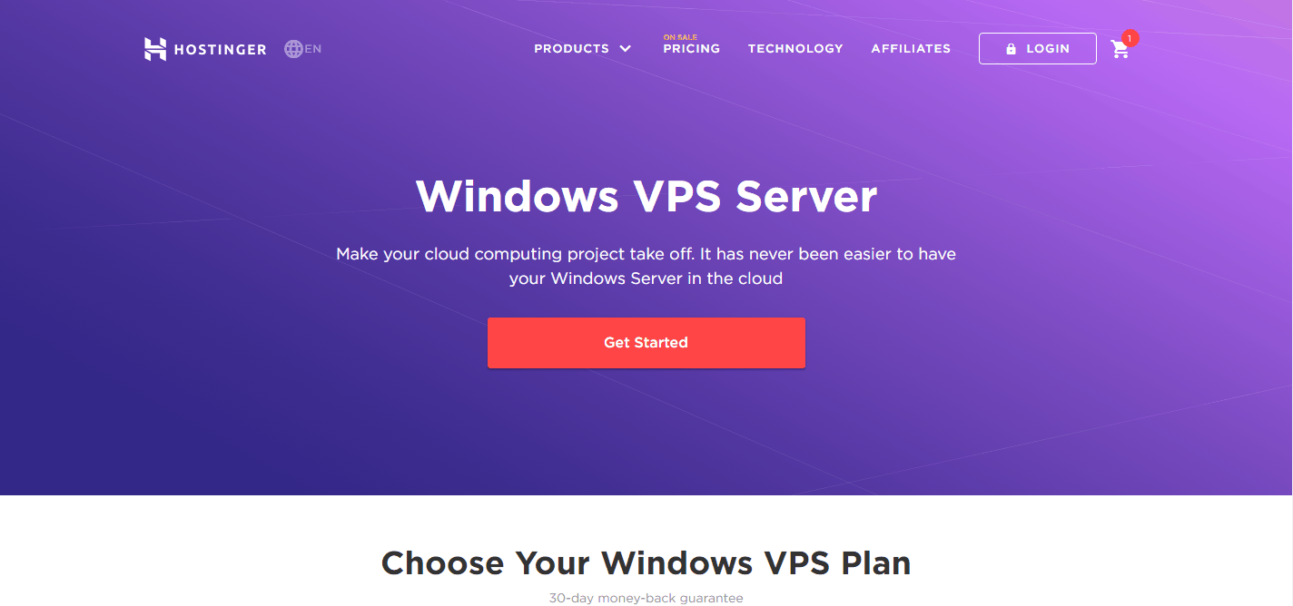 Hostinger Windows VPS Server