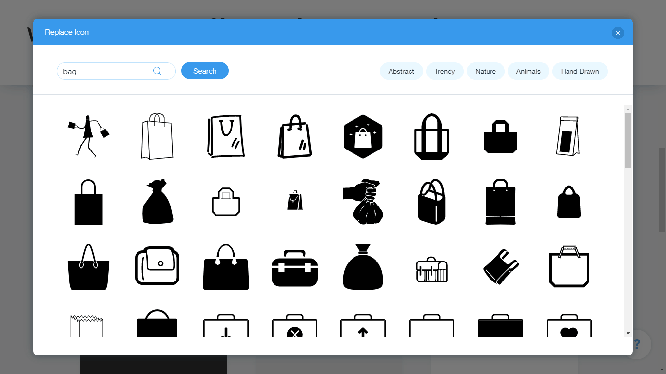 Wix Logo Maker screenshot - Bag icons
