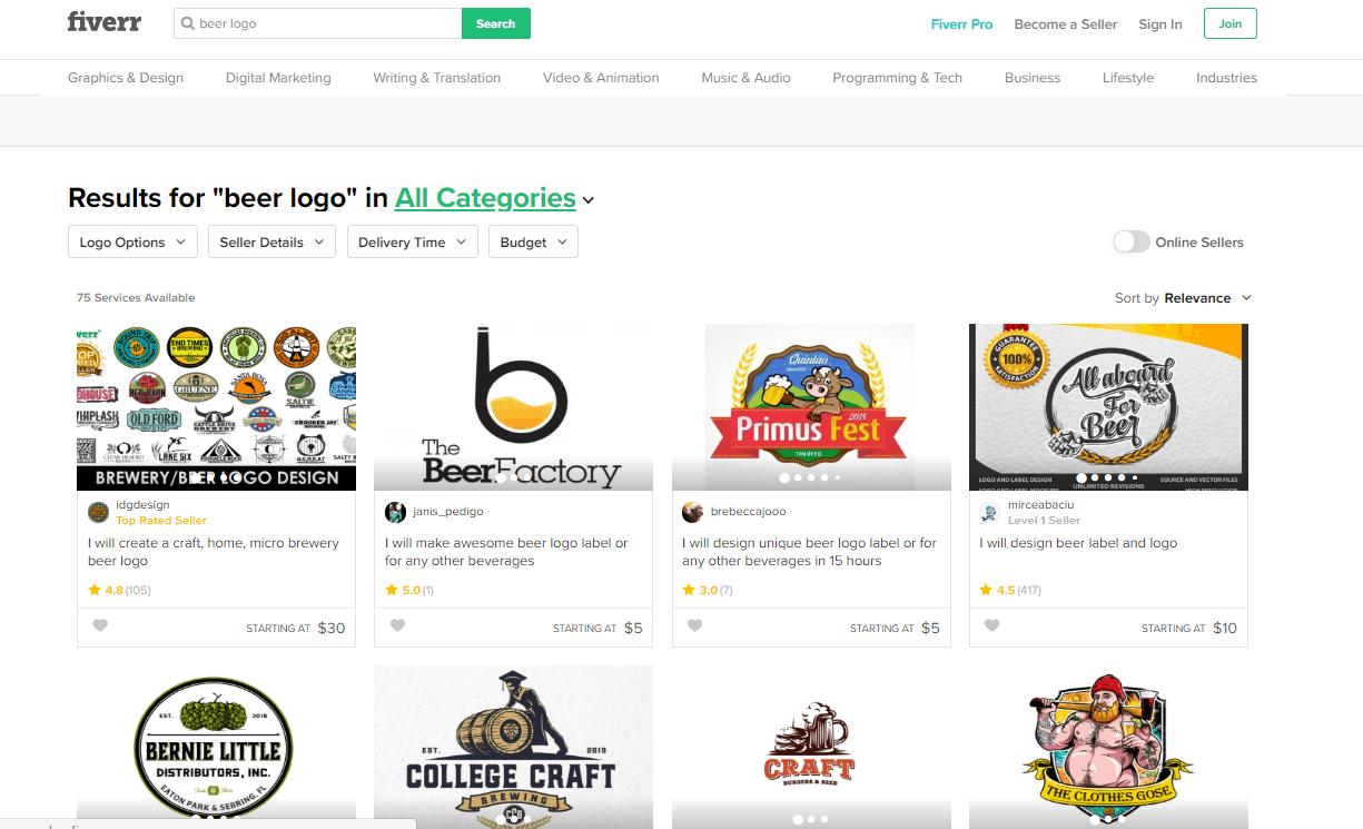 Fiverr screenshot - Beer logo designers