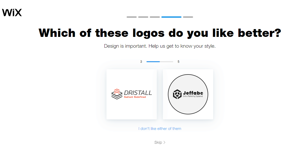 Wix Logo Maker screenshot - Pick between logo suggestions