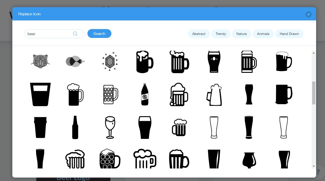 Wix Logo Maker screenshot - Beer icons