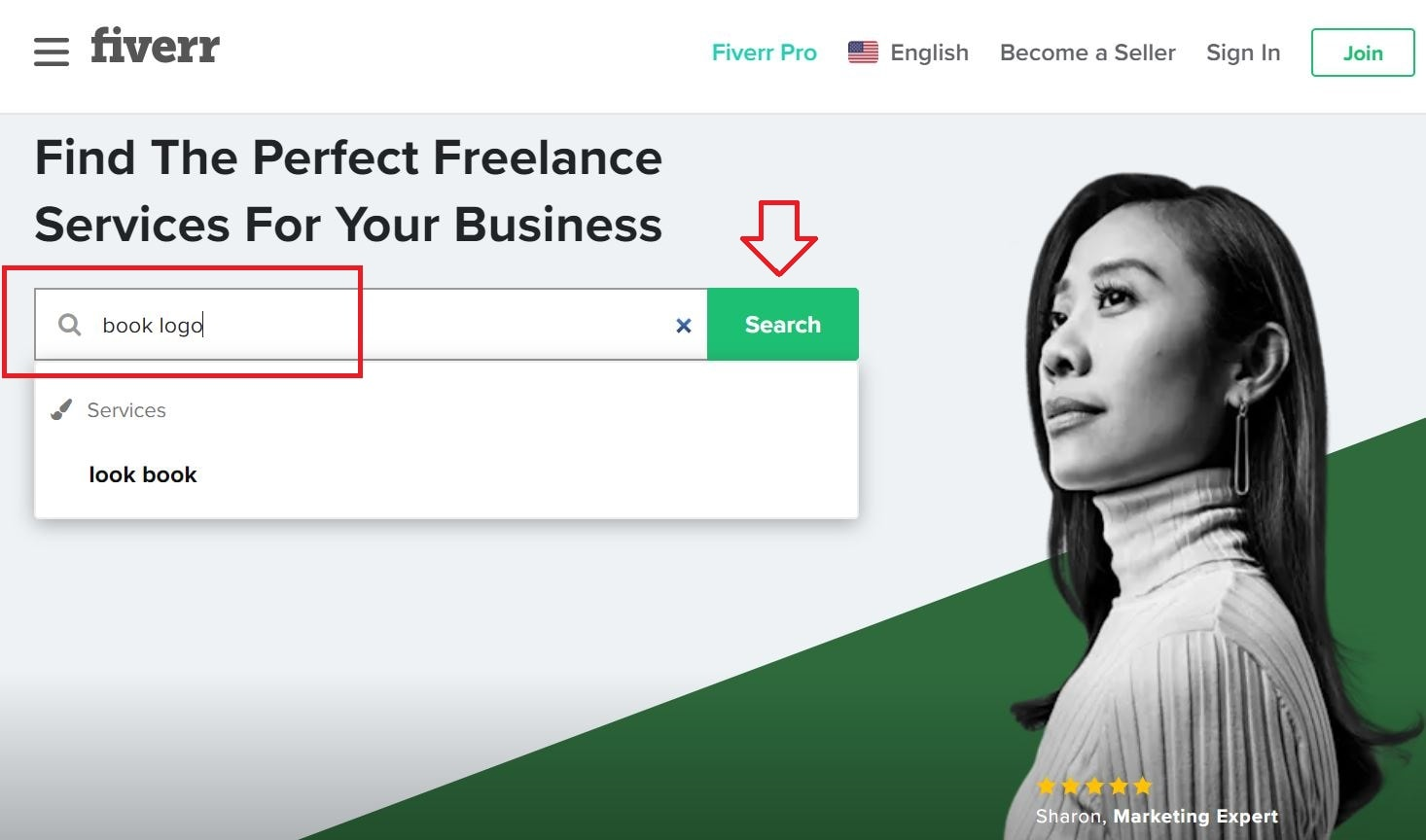 Fiverr screenshot - Homepage book logo search