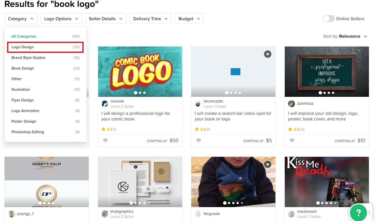Fiverr screenshot - Book logo designers