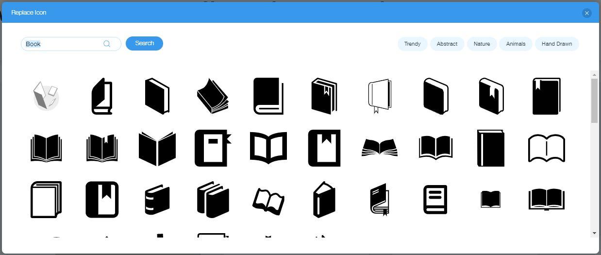 Wix Logo Maker screenshot - book icons