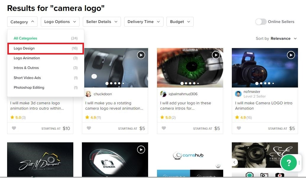 Fiverr screenshot - camera logo designers