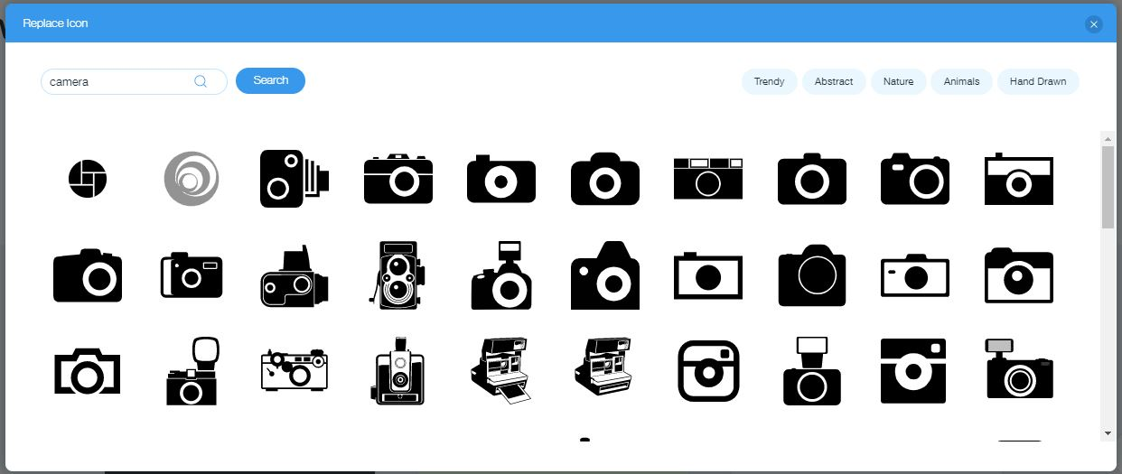 Wix Logo Maker screenshot - camera icons