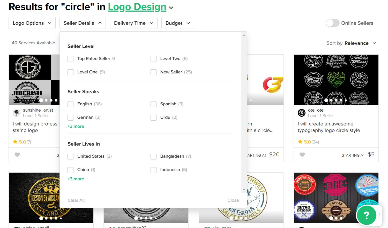 Fiverr screenshot - Circle logo designers